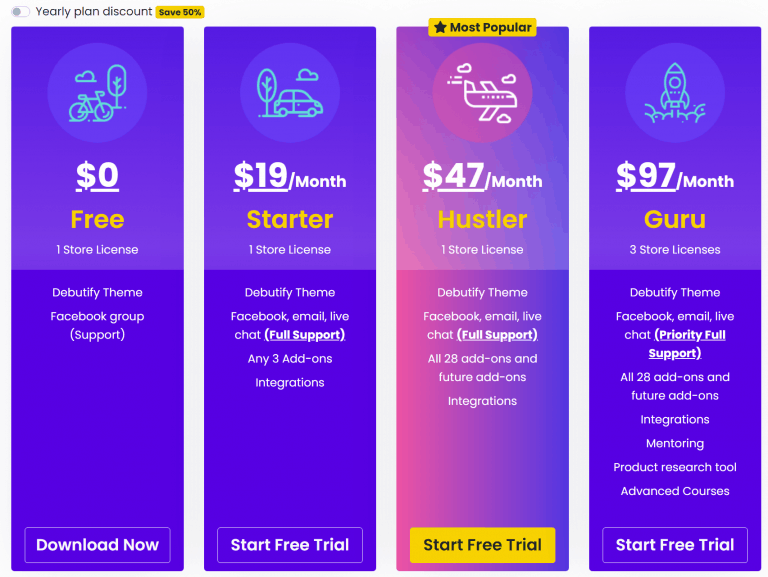 Debutify Theme pricing