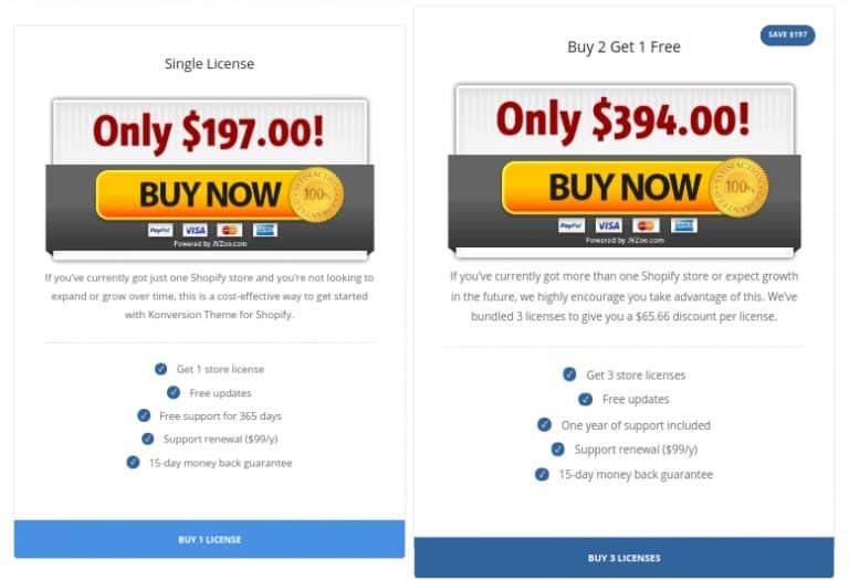Konversion Theme Pricing